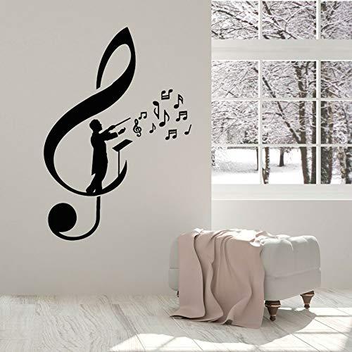 SUPWALS Pegatinas de pared Vinilo Tatuajes De Pared Notas De Clave De Sol Conductor Maestro Orquesta Pegatina Concierto Música Estudio Aula Decoración De Interiores Mural 74X106 Cm