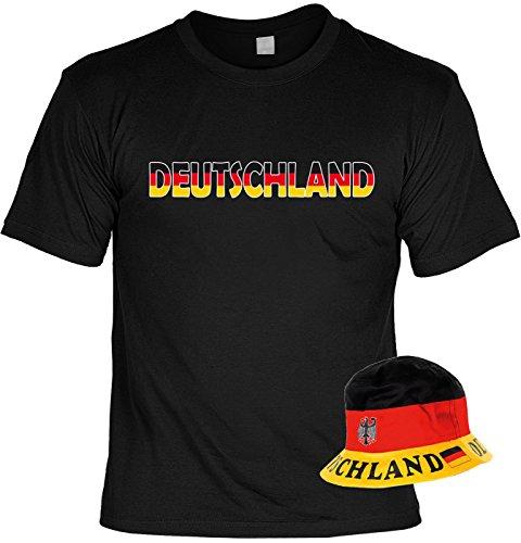 VERI 2-teiliges Fussball WM 2018 Deutschland T-Shirt Trikot Fanartikel Set schwarz rot gold und Fischerhut Fußball Fan Hut Sonnenhut Gr. 52-59 cm Gr. XXL : -
