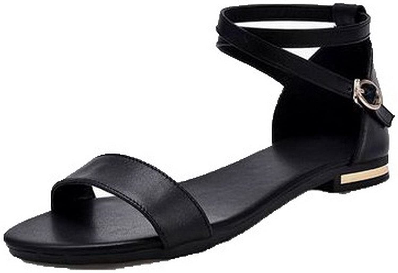 WeenFashion Women's Low-Heels Pu Solid Open-Toe Sandals, Black, 37