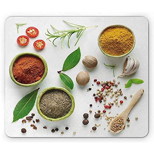 Kleurrijke muismat, diverse kruiden specerijen en gedroogd voedsel Culinair beeld Top View, anti-slip Rubber muismat, Off White