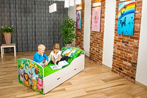Nobiko Cuna de bebé, cama infantil, dormitorio, muebles de juego, Line, Rainbow 140 x 70/160 x 80/180 x 90, cajón, colchón y somier (17) (140 x 70 con cajón)