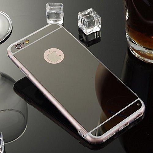 Nadoli Miroir Coque iPhone 8 Plus 5.5,Ultra Slim Etui Miroir de Maquillage Coque Cas Couverture Etui Coque en Étui Housse Souple pour iPhone 8 Plus 5.5 / 7 Plus 5.5,Noir