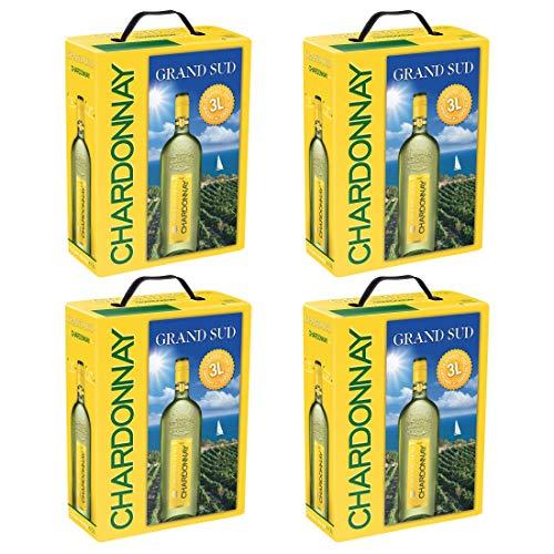 4 x GRAND SUD CHARDONNAY WEIßWEIN Bag in Box 3L