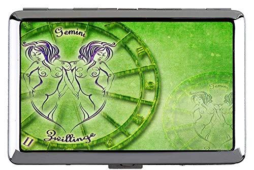 Zigarettenetui Box, Zwillinge, Sternzeichen, Sternbild, Astrologie Themen aus Metall Tasche Visitenkartenetui
