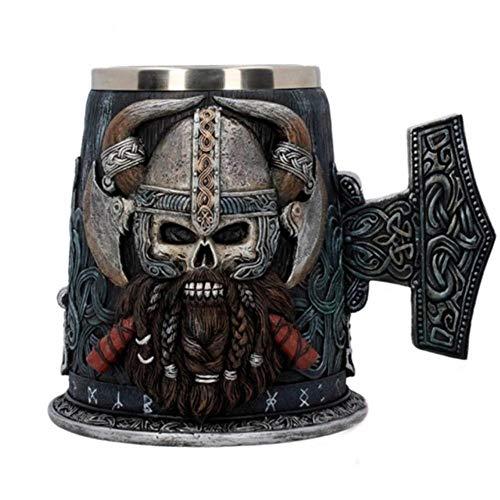 DWZX Taza de 600 ml Edad Media Pirata Vikingo de café de Acero Inoxidable Tazas y Tazas de Resina apretón de la Mano Vino de la Cerveza de la Capacidad Grande de la Copa (Color : Mug)