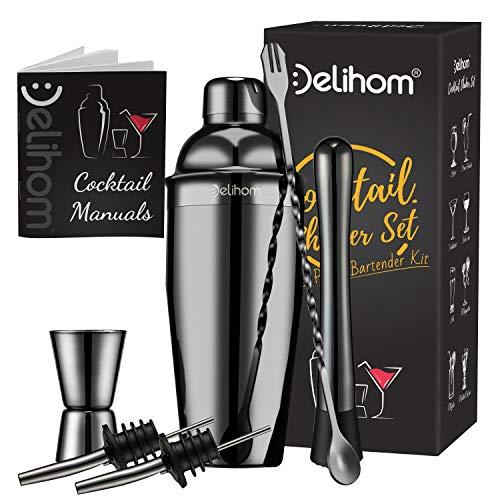 Delihom Cocktail Shaker Set di 6 Pezzi, Kit Cocktail Shaker Acciaio Inossidabile, Kit Professionale Attrezzatura Bar con 750ML Shaker per la Casa, Bar, Festa (Nero)
