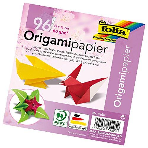 folia 9160 - Faltblätter Origami 19 x 19 cm, 80 g/qm, 96 Blatt, sortiert in 12 verschiedenen Farben - ideal zum Papierfalten und für andere kreative Bastelarbeiten