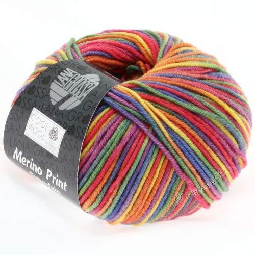 """Lana Grossa - Gomitolo di lana Merino superfine """"Cool Wool"""", da 50 g, colore: Arcobaleno (703)"""