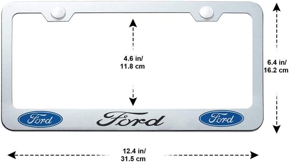 2 Pack Silver Car License Plate Frame for Cadillac Logo,with Screw Caps Cover Set for Cadillac Applicable to US Standard License Plate 2-Hole