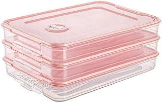 Yililay 3PCS Réfrigérateur Porte-Alimentaire, Ravioli Boîte de Rangement Case, Une Seule Couche superposable avec Couvercl...