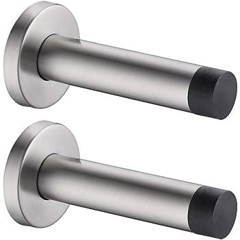 Modern Door Stopper with Hook Stainless Steel Door Stop with Sound Dampening Rubber Bumper Wall Mounted Durable Door Holder with Hardware Screws Brushed Finish 3.5 Inch in Height Door Stops