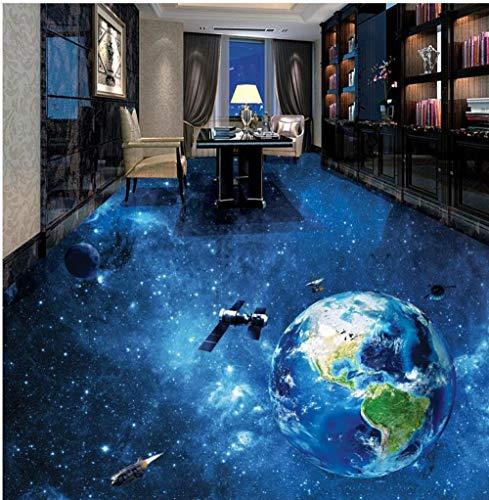 3D Floor Custom Photo Floor 3D Wallpaper Arte moderno Autoadhesivo Pvc Wallpaper Universe Earth Baño Sala de estar 3D Floor-350Cmx245Cm