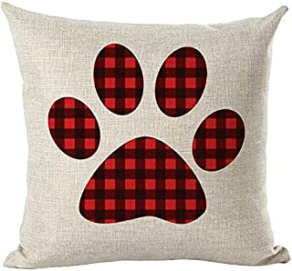 Unionm 83# Pillow Covers Christmas Decor Throw Pillow Case Cotton Blend Red Green Plaid Reindeer Tree Merry Christmas Square 45 x 45 cm 18 x 18 inch Cushion Cover for Home Sofa Car 1 Pack - 10