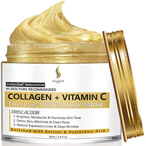 Collagen + Vitamin C Clay Face Mask for Skin Care   Reduces Wrinkles, Acne, Blemishes & Blackheads   Deep Cleansing Face Mask   Brightens Skin, Minimizes Pores, Moisturize & Purify