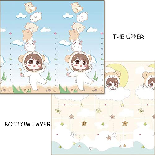 WZHIJUN Puzzle Play Mats Baby Crawling Mat Foldable Child Foam Carpet XPE Material 200×180cm (Size : 150×180×1cm)