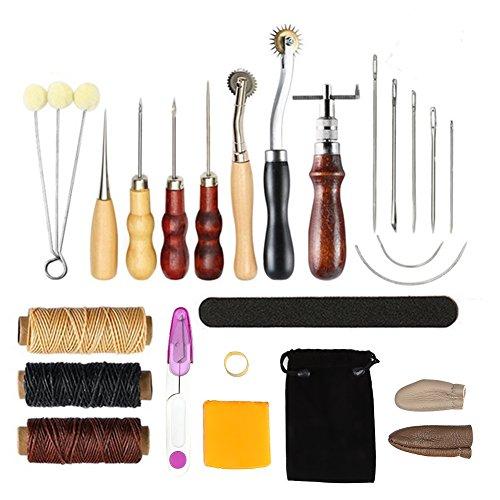 Walfront 17pcs Punzón de Cuero, Herramientas de Costura de Cuero, Agujas de Cuero para Artesanía a Mano DIY
