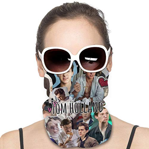 UPF 50+ Micro Dust Proof Balaclava, Photo Collage Tom Holland Fan Gift Tube Face Mask Scarf Bandana, Fashion Seamless Neck Cover for Yoga Traveling