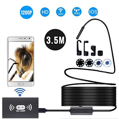 Câmera endoscópica sem fio de 8 mm IP68 Inspeção WiFi à prova d'água 2.0MP HD 8 LED Boroscópio de cabo semi-rígido para iPhones iPads Dispositivos Android e PC Preto 3,5M