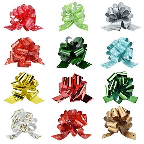AFASOES 12 Stück Geschenkverpackung Bogen Groß Pull Bögen Geschenkbänder Geschenkschleifen für Weihnachten Weihnachtsschleifen Weihnachts Schleife