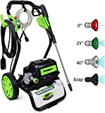 PowRyte 3800 PSI 2.6 GPM Cold Water Electric Pressure Washer with 5 Quick-Connect Spray Tips, Electric Power Cleaner with 1800 Copper Motor, Metal Spray Gun:Green/Black