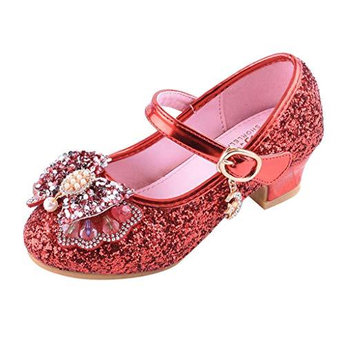 Zapatos Niña Princesa - Talla 26-37 - Perla Lentejuelas Rhinestone Zapatos Tacon de Fiesta - Sandalias de Vestir