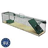 Moorland Safe 6042 Lebend-Falle 80x15x19 cm mit Holzboden als stabile Tierfalle für Ratten, Marder, Iltis, Katzen