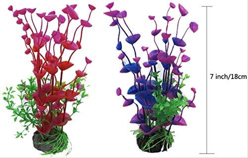 BEARUN Künstliche Wasserpflanzen, Aquarienpflanzen, künstliche Fischtanks, dekoriert mit Harz und Plastikornamenten, künstliche Plastikpflanzen des Aquariums zur Dekoration der Aquarienlandschaft - 2