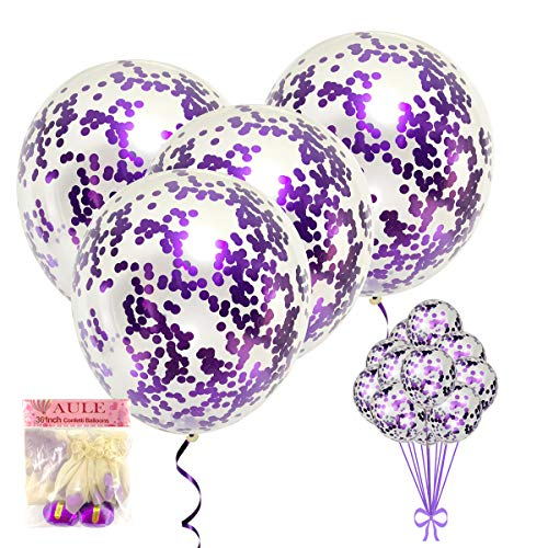 AULE 36 Inch Giant Purple Confetti Balloons and 12 Inch Purple Confetti Balloons, Large Confetti Latex Balloons, Big Party Decorations ( 30 Pcs )