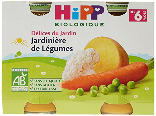 Hipp Biologique Délices du Jardin 3 Variétés Dès 6 et 8 Mois 12 Pots de 190 g