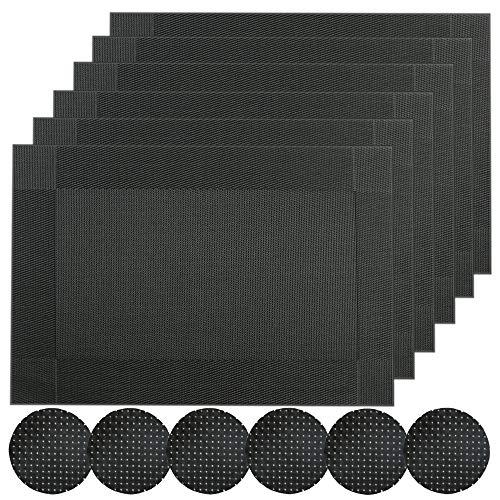 Famibay Sets de Table et Dessous de Verre Noirs Lot de 6 Lavable Plastique Sets de Table