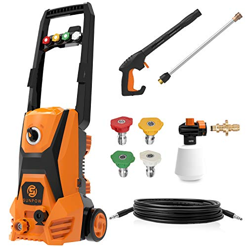 SUNPOW Electric Power Pressure Washer 2500 PSI 1.8 GPM High Pressure Washer Machine with 4 Nozzles,Detergent Tank and Hose,Car Power Washer for Home, Vehicle, Driveways, Garden