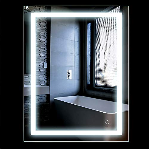 Turefans Espejo baño, Espejo baño con luz, Interruptor táctil, Suspensión Vertical/Horizontal, 22W, luz LED Blanca fría