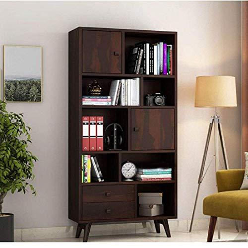 TS Tiny Space - Libreria aperta in legno di Sheesham con 2 cassetti e 2 armadietti, finitura in teak provinciale, colore: nero