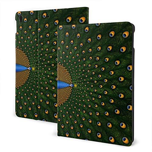 Funda para iPad 7 (10,2 pulgadas, 7ª generación, función de encendido y apagado automático), diseño de pavo real