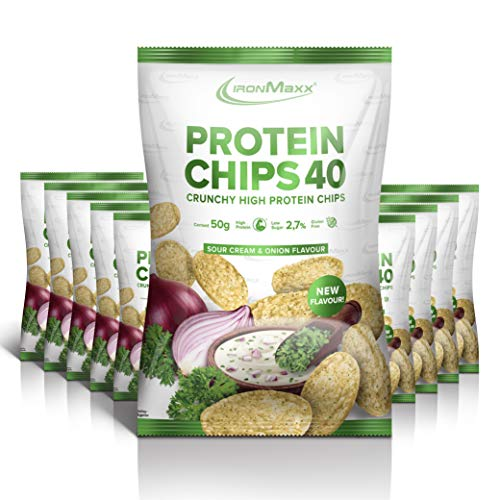 IronMaxx Protein Chips 40 - Sour Cream & Onion Geschmack -10er Pack / 10x 50g- High Protein, Low Carb, glutenfrei, fettarm und zuckerreduziert - 20g Protein pro Tüte - Designed in Germany