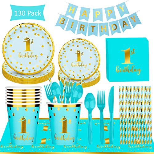 Why Should You Buy Kicpot 130pack Blue Party Disposable Tableware Set, 1st Birthday Party Supplies W...