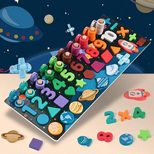 Juguete de Pesca para niños, Bloques de Madera Puzzles Color Clasificación Juegos Juego de Pesca Juego de niños para niños pequeños (Size : B)