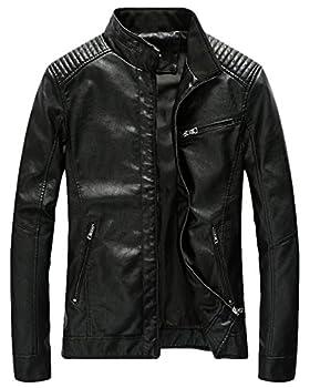 Youhan Men s Casual Zip Up Slim Bomber Faux Leather Jacket  Medium Black