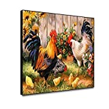 shensu Framed Canvas Wall Art Prints Cute Animal Posters Colorful Chicken Rooster Flower Grass Wooden Fence Oil Painting Prints Wall Decor for Living Room Kids Bedroom Bathroom Home Decor 10x8inch