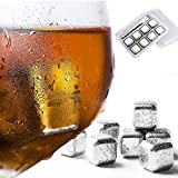 zyckTech 8 Pack Stainless Steel Ice Cubes [Reusable], Metal Chilling Stones W/Tongs & Storage, Tray Gift Set for Whiskey Wine Beer Vodka Liqueurs Drinks Cooler