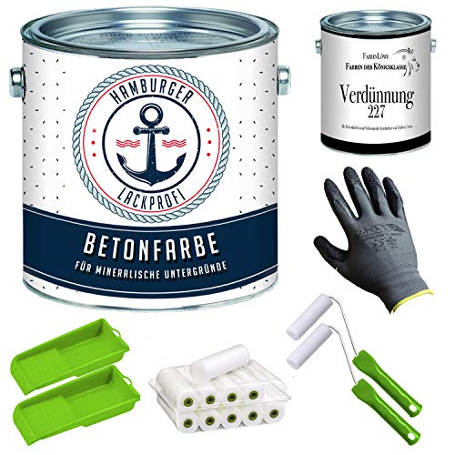 Betonfarbe SEIDENMATT Moosgrau RAL 7003 Grau Bodenfarbe Bodenbeschichtung Betonbeschichtung Fassadenfarbe mit Lackier-SET (X300) und Verdünnung (1 L) // Hamburger Lack-Profi (2,5 L)