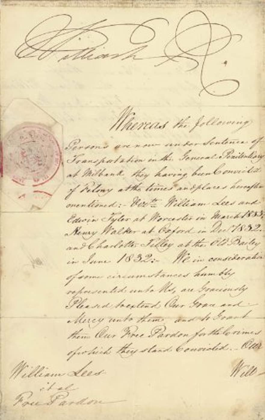 King William IV - Pardon Signed 08/04/1836 co-signed by Prime Minister John Russell (Great Britain)