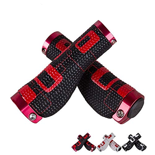Bike Handlebar Grips Bike Handlebar Grips,Lock-on Bicycle Grips Handle Bar End Holding Locking Grips,for MTB Mountain Downhill Folding LINGGE (Color : Black red, Size : Free size)