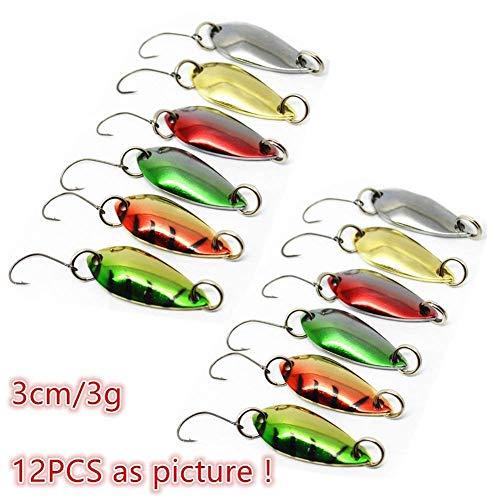 LiGG 12 Pezzi Esche per La Pesca alla Trota Cucchiaino Trota in Metallo Artificiali Pesca Spinning Cucchiaino Colorato Esche da Pesca 3cm 3g