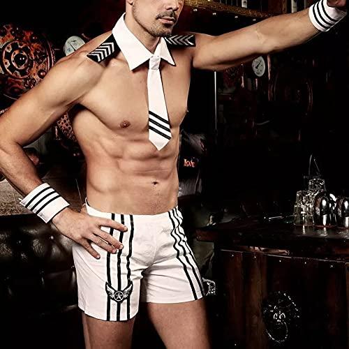 YINSHENG Uniforme Masculino Uniforme Blanco Halloween Cosplay Uniforme Traje Masculino Pijamas de Encaje Ropa Interior Damas Traje Sexy Ropa Interior Ropa Interior cinturón Tanga