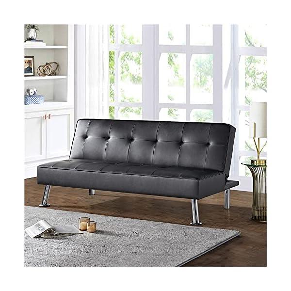 Kovalenthor Convertible Black Faux Leather Futon Sofa Bed 1