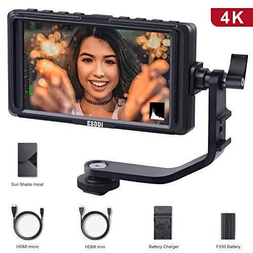 ESDDI 5 Inch Camera Field Monitor Full HD IPS Screen Support 4K HDMI Input 1920 x 1080 Rechargeable Li-on Battery Included, with Battery Charger and USB Suitable for Canon Nikon Sony Camera