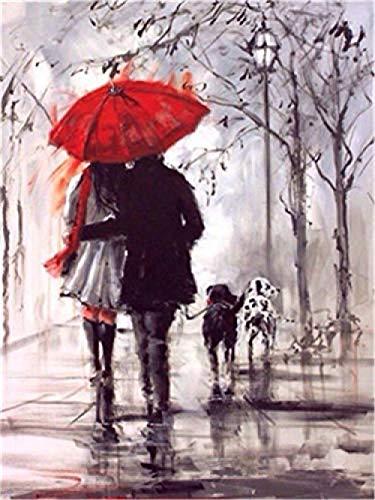 Pintura Por Números Niños Adultos Romántico Día Lluvioso Pareja Paraguas Rojo Perros 40X50Cm Lienzo De Lino Diy Pintura Al Óleo Regalos De Navidad -No Frame