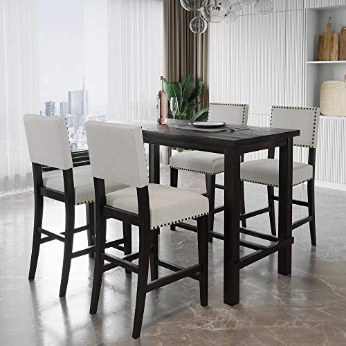 Merax 5 Piece Dining Set Kitchen Table Set Counter Height Table Set with One Rectangle Table and 4 Cushioned Chairs for 4 Persons Dining Room Table Set for Small Place