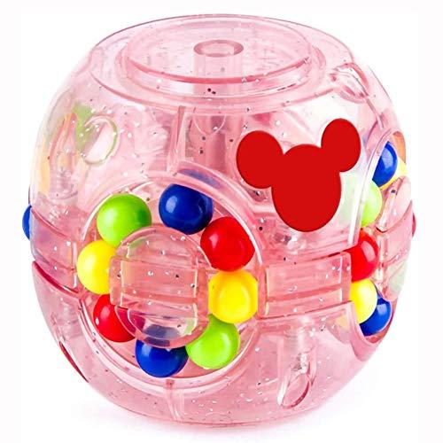 SZGXQML Daisy Magic Bean - Cubo giratorio para hamburguesa con cuentas de colores creativas, cubo mágico, cubo mágico, judías mágicas luminosas, pequeñas judías mágicas con luces coloridas, color rosa
